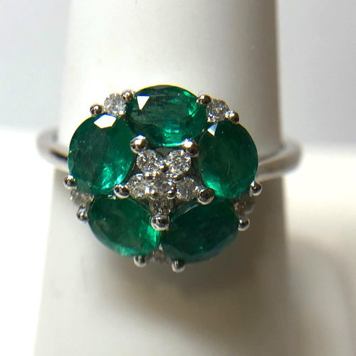 Natural Emerald and Diamond Classic Five Petal Flower Ring in 18K White Gold