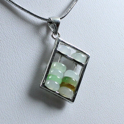 Certified Natural Untreated Grade A Jadeite Jade Abacus 算盘 S925 Silver Pendant