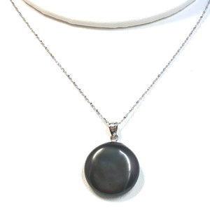 Coin Pearl Pendant on Sterling Silver Chain
