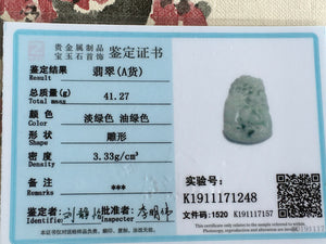 Certified Natural Untreated Grade A Jadeite Jade Pendant Turtle Crane 龟鹤延年
