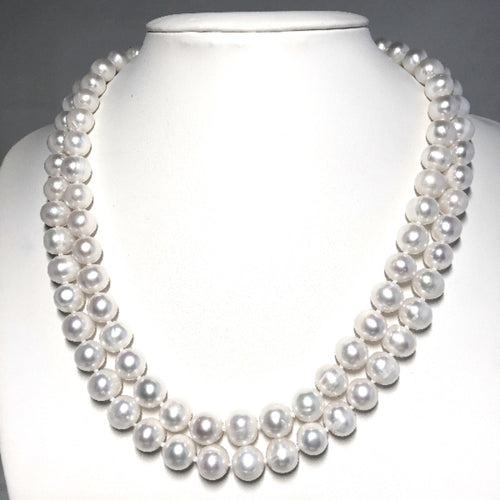 Classic Double Strand Freshwater Pearl Necklace (7-8 mm and 9-10 mm)