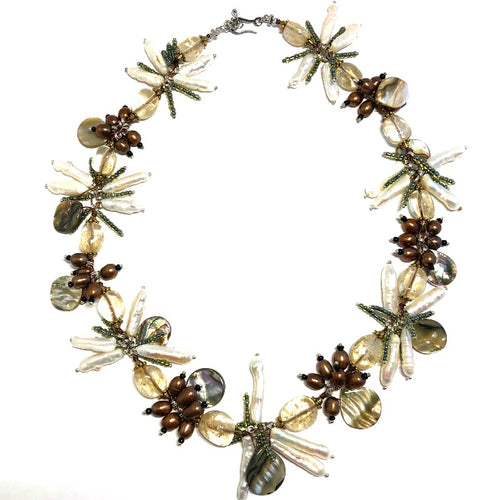 DragonFly Biwa and Mother-of-Pearl Necklace