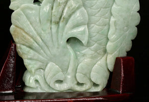 Certified Jadeite (Natural & Untreated) Sculpture Statue - Two Playful Fish
