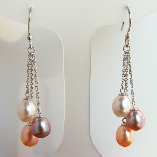 Freshwater Pearl Drop Earrings on Sterling Silver Hook
