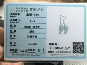 Certified 100% Natural Grade A Lite Green Jadeite Jade Fish S925 Silver Earrings E1083
