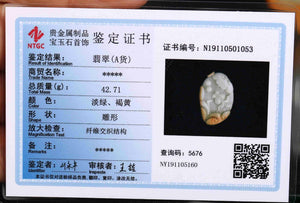 Certified Natural Untreated Grade A 2 Colors Jadeite Jade Pendant Fish & Ruyi 如意有余