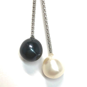 His and Hers 11 mm Pearl Pendant on a Square Knotted Sterling Silver Chain