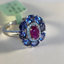Load image into Gallery viewer, Natural Ruby, Tanzanite and Diamond Ring in 18K White Gold