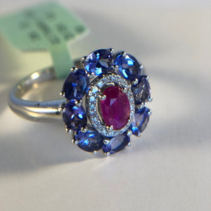 Natural Ruby, Tanzanite and Diamond Ring in 18K White Gold