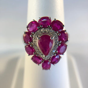 Natural Heart Shaped Ruby and Diamond Ring in 18K White Gold