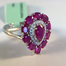 Load image into Gallery viewer, Natural Heart Shaped Ruby and Diamond Ring in 18K White Gold