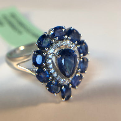 Natural Heart Shaped Sapphire and Diamond Ring in 18K White Gold