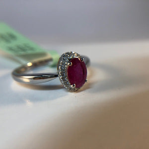 Natural Ruby and Diamond Ring in 18K White Gold