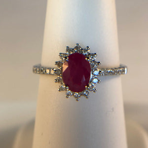 Princess Diana Inspired Natural Ruby and Diamond Halo Ring in 18K White Gold