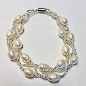 Magnetic Clasp Twisted Triple Strand Pearl Bracelet