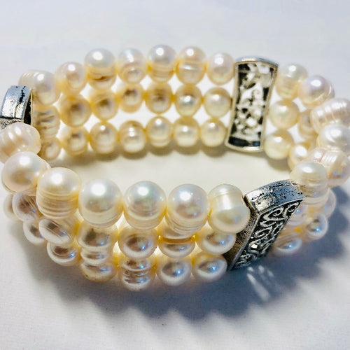 Triple Strand Freshwater Pearl Stretchy Bracelet