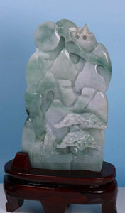 Certified Jadeite (Natural & Untreated) Sculpture Statue - Immortal Landscape