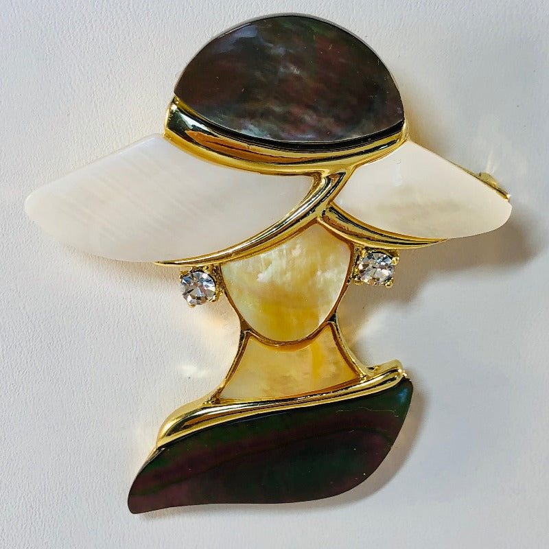 Goldtone Lady In Hat Brooch/Pin Made with Abalone & Crystals