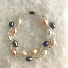 Load image into Gallery viewer, Magnetic Clasp Twisted Triple Strand Pearl Bracelet