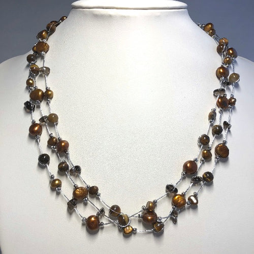 Triple Strand Silver Thread Freshwater Pearl & Crystals Necklace