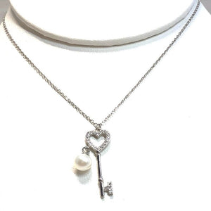 Freshwater Pearl Key Pendant on a Sterling Silver Chain