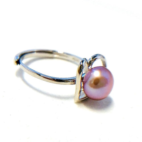 Freshwater Pearl with Sterling Silver Heart Ring (Adjustable)