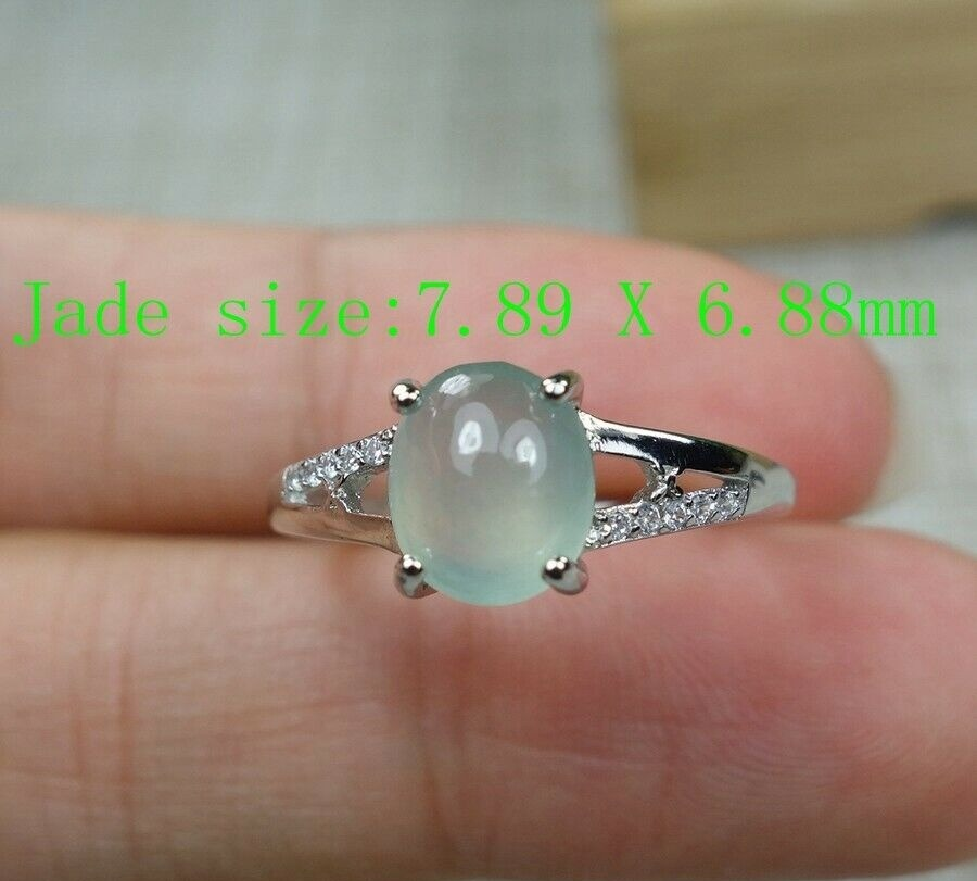 Certified 100% Natural Grade A Icy Jadeite Jade Adjustable S925 Silver Ring R2946