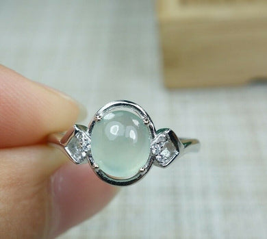 Certified 100% Natural Grade A Icy Jadeite Jade Adjustable S925 Silver Ring R2947
