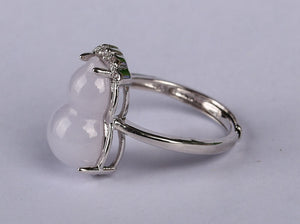 Certified 100% Natural Grade A Icy Lavender Jadeite Jade Adjustable S925 Silver Ring R2965