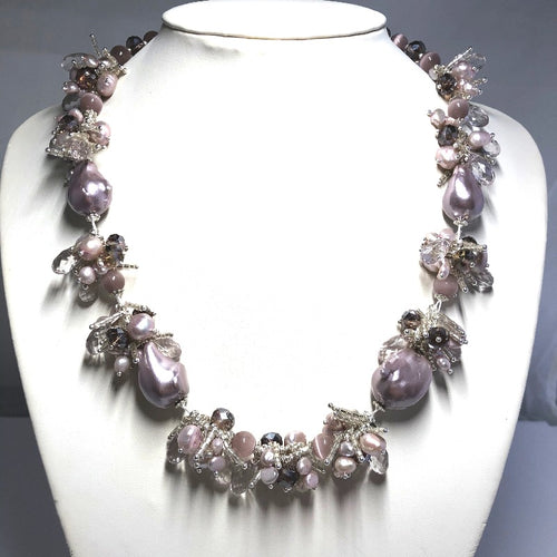 Splendid Gem Baroque Pearls, Rice Pearl & Crystals Necklace