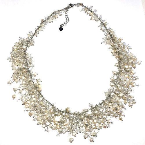 Star of the Sea Freshwater Pearls with Crystals Necklace