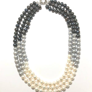 Triple Strand 8mm Multi-Color Freshwater Pearl Necklace