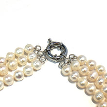 Load image into Gallery viewer, Classic Triple Strand 7 or 8mm Freshwater Pearl Necklace