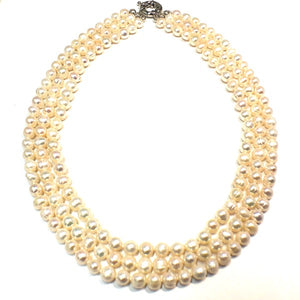 Classic Triple Strand 7 or 8mm Freshwater Pearl Necklace