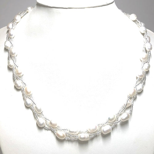 Magnetic Clasp Twisted Triple Strand Pearl Necklace