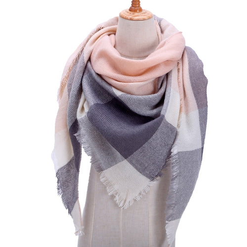 Designer Knitted Women Plaid Cashmere Scarf