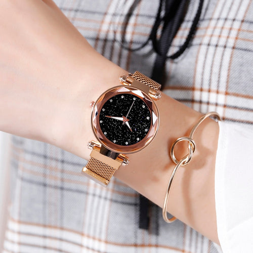 Elegant Magnet Buckle Starry Sky Women Wristwatch