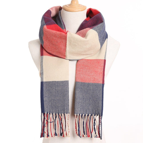 (Latest) Cashmere Blend Solid or Plaid Winter Women's Scarf