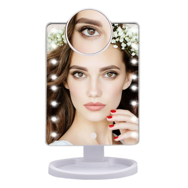 16/22 LED Lights Touch Screen Makeup Adjustable Mirror