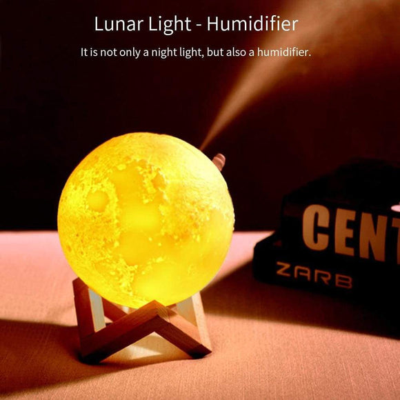 3D Moon Lamp Moonlight Humidifier with 3 Color Changing Night Light - Stylish-Accessories