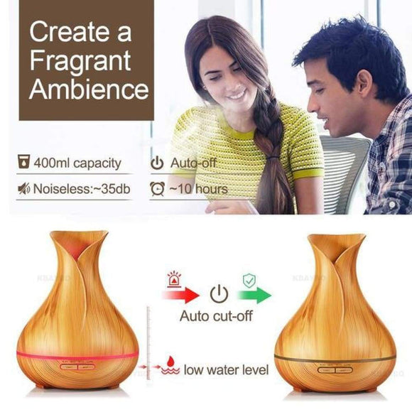 Aroma Essential Oil Diffuser Ultrasonic Air Humidifier with Wood Grain - Stylish-Accessories