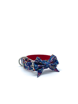 Jaxon Collar & Bow in Holiday Floral Honeycomb + Silver Hardware