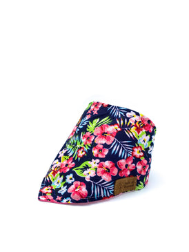 Cotton Snap Bandanna in Pink Hibiscus/Palm Leaves/Navy/Coral