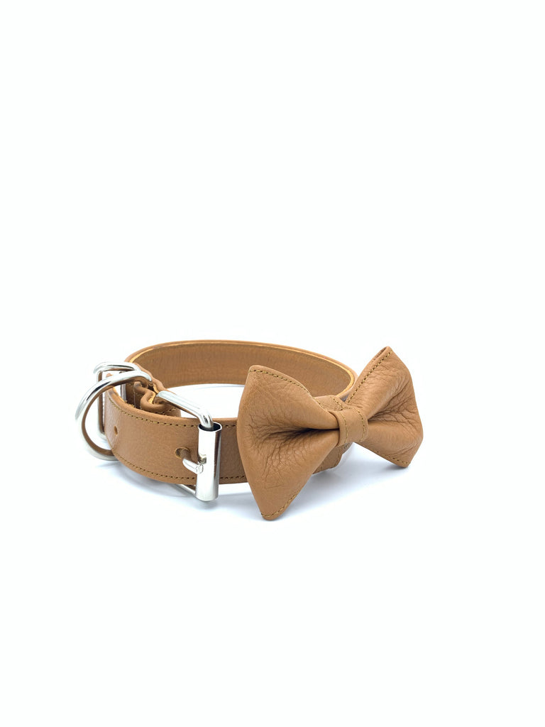 Sample Sale: Ella Collar & Bow Set in Tan Leather + Silver Hardware