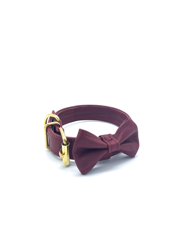 Ella Collar & Bow in Red Wine Leather + Gold Hardware