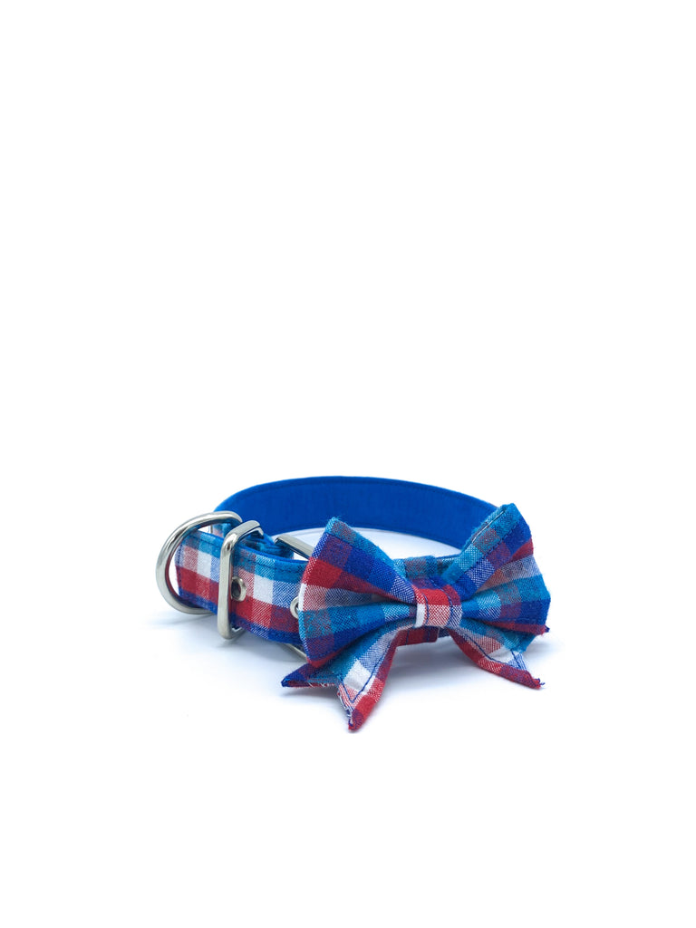 Jaxon Collar & Bow in Teal/Blue/White/Red Buffalo Check Plaid + Silver Hardware