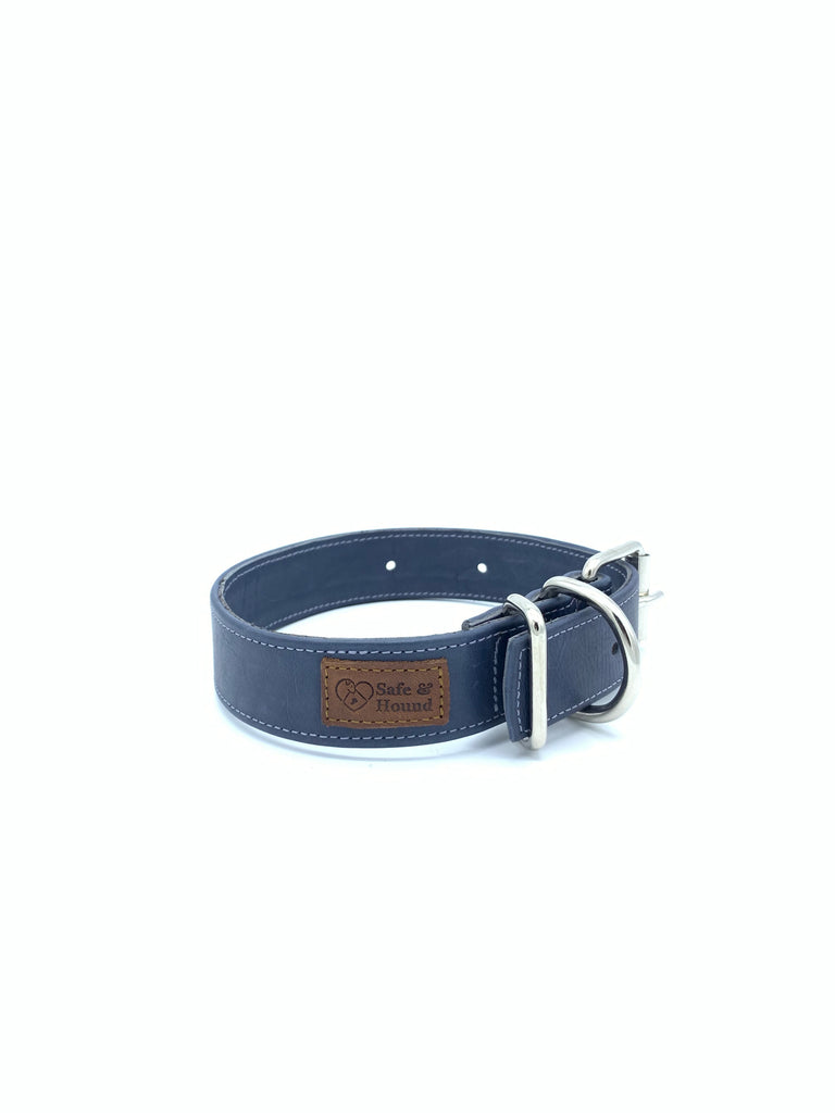 Sample Sale: Ella Collar in Blue-Grey Leather + Silver Hardware