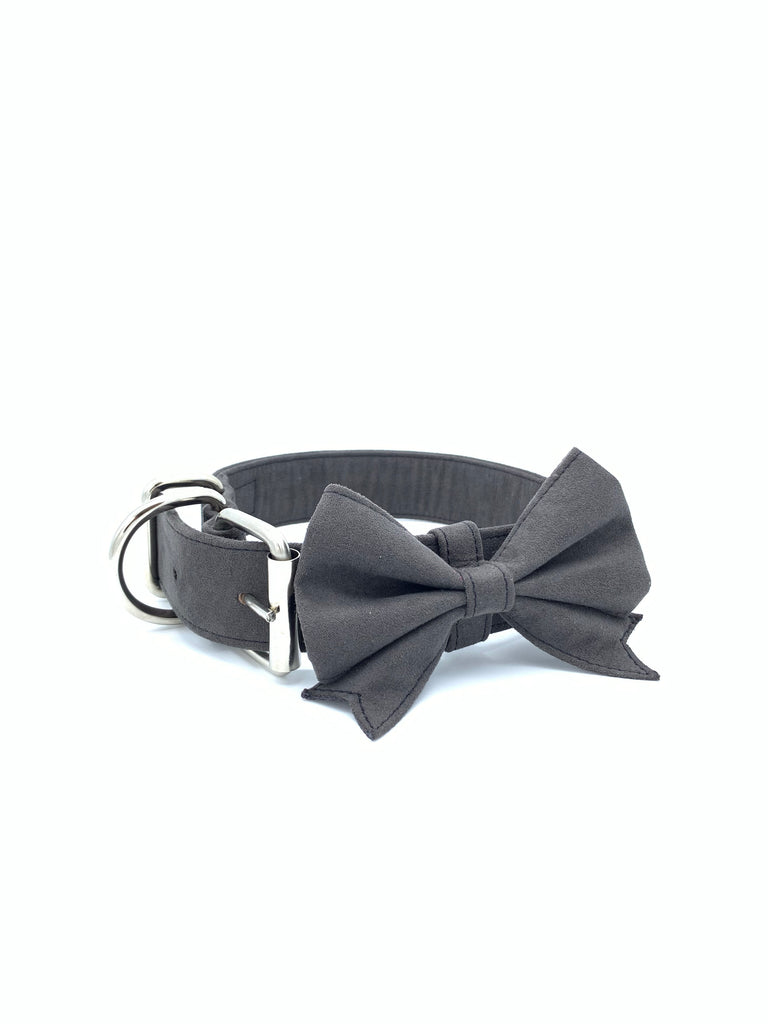 Sample Sale: Jessie Collar & Bow in Stormy Grey + Silver Hardware