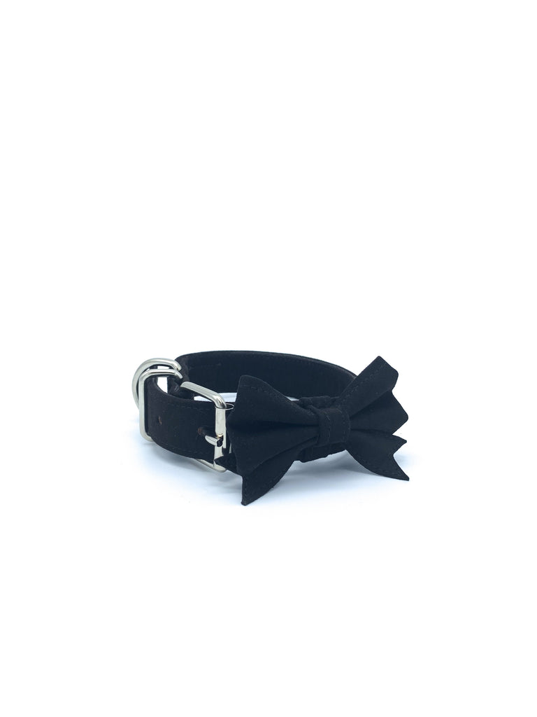 Sample Sale: Jessie Collar & Bow in Midnight Black + Silver Hardware
