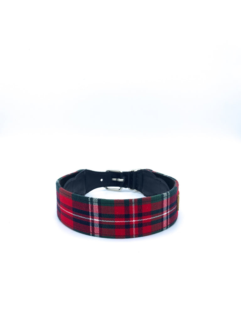 Sample Sale: Desmond Collar in Navy/Red/Green Tartan Plaid + Black Leather + Silver Hardware